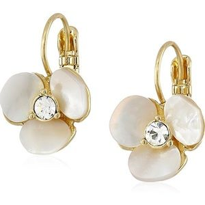 Kate Spade NWT Disco Pansy Leverback Earrings